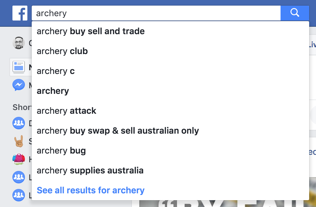 Search for an archery club on Facebook